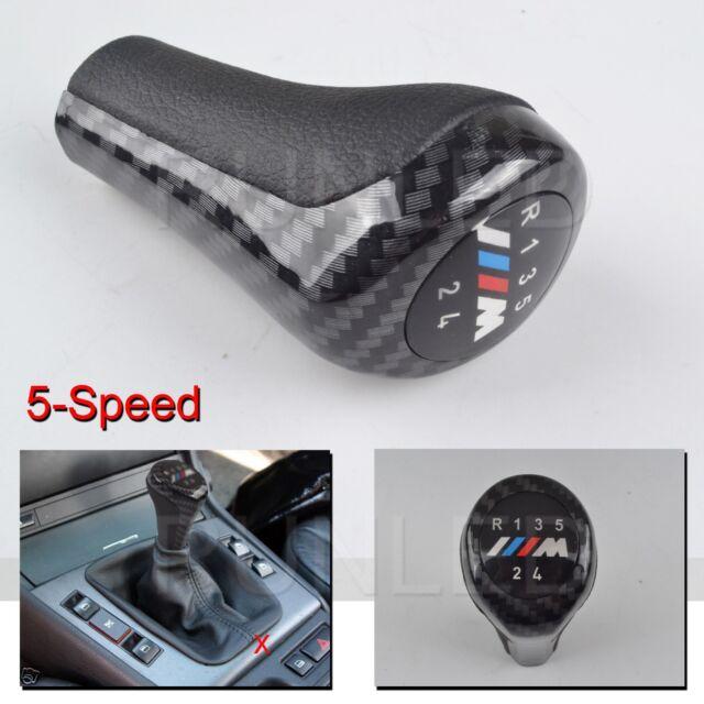 5 Speed Carbon Fiber Gear Shift Knob M Sport Leather for BMW E36 E39 E46 E90 E91