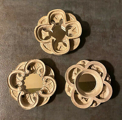 Vintage Lot Of 3 Small Decorative Mirrors Old World Antiqued Cream Beige Euc Ebay