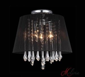 Lampara-de-techo-tela-40cm-Negro-Cristal-Rendondo-4x40w-mesa