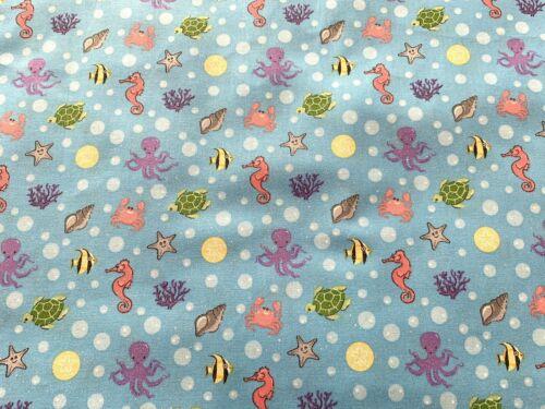 Blue FQ Fat Quarter Fabric Fish Seahorse Starfish Glitter 100/% Cotton Quilting