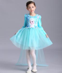US STOCK NEW girls Frozen Queen Elsa Princess Anna blue Party Dress K62