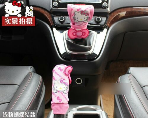 2 Pcs//set Handbrake Gears Cover Hello Kitty Styling Car Accessories Interior 2