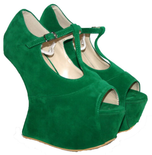 """LADIES GREEN FAUX SUEDE 6/"""" WEDGE HEEL T-BAR SANDAL WITH BUCKLE STRAP SIZES 3-8"""