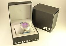 New Mens Jewelry Android Concept-T AD462 Purple Dial Stainless Quartz Watch +Box