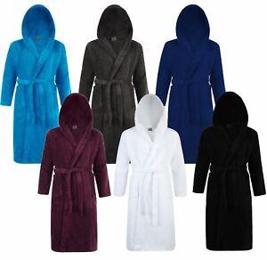 Home Way Men/'s Cotton Hooded Bathrobe Black Size S