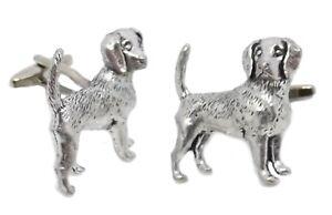 Beagle Cufflinks /& Tie Slide Clip Mens Gift Set UK Pewter 025