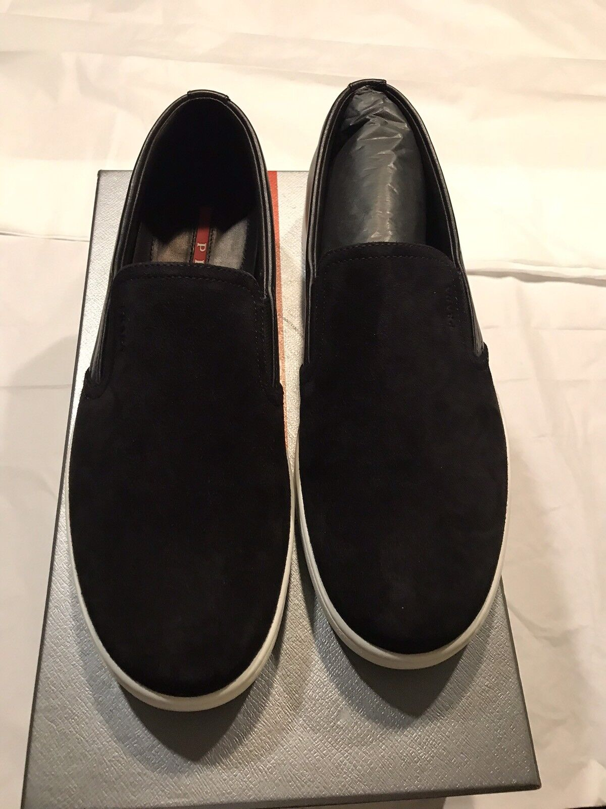 New Authentic Prada Mixed Media Men Leather Suede SlipOn scarpe da ginnastica nero 7.5  690