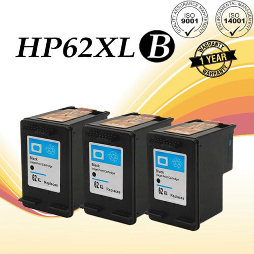 3 Pack High Yield 62XL Black Ink Cartridge For HP ENVY 5640 5642 5643 Office jet