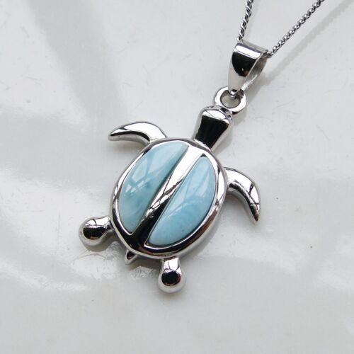 Sea Animal Silver 925 Natural Larimar Gemstone Sea Turtle Women Necklace Pendant