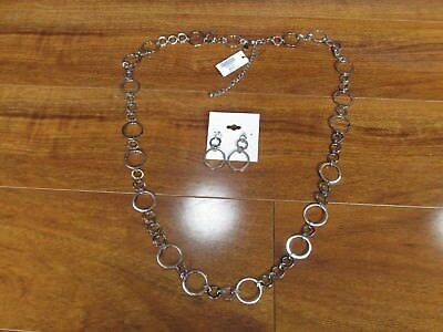 """Jewelry Sets New Chico's Rudy 36"""" Necklace & Earrings Silver Tone Rings $69.00"""