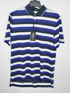 NEW-RLX-Ralph-Lauren-Mens-Wicking-Golf-Polo-Shirt-White-Blue-Stripes-Size-L-90