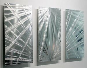 Image is loading Metal-Abstract-Modern-Silver-Wall-Art-Decor-Sculpture-