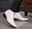 Mens-Ankle-Boots-Pointed-Toe-Leather-Front-Zip-Block-Mid-Heel-Dress-Formal-Shoes thumbnail 3