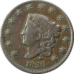 1826-Coronet-Head-Large-Cent-VF-Very-Fine-Details-Copper-Penny-1c-US-Type-Coin