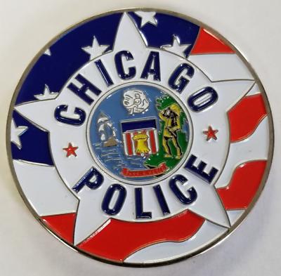 "Biker Skull CHICAGO POLICE CHALLENGE COIN Size 1.75/"""