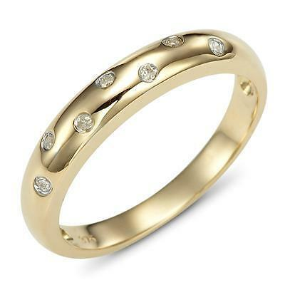 Diamond 9ct 9K Solid Gold Wave Ring - 30 Day Returns - ax106_dia