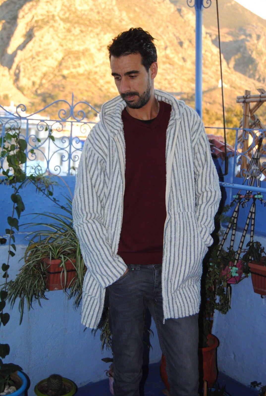 Hoodie Djellaba jacket for men and damen 100 wool handmade by a craftsman