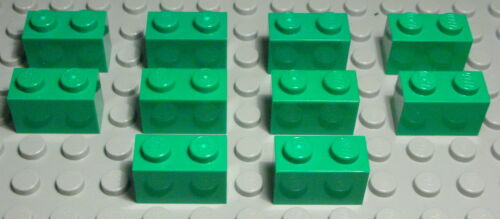 1046 Lego Stein 1x2 Grün 10 Stück