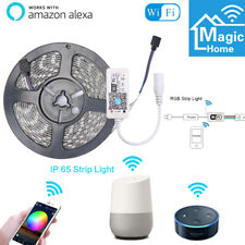 16.4ft LED Alexa Smart Home WIFI Wireless RGB Waterproof Strip Neon Light Kit