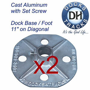 Details about 2 Boat dock base, foot, stand, pad  Aluminum dock hardware   Pier stand stanchion