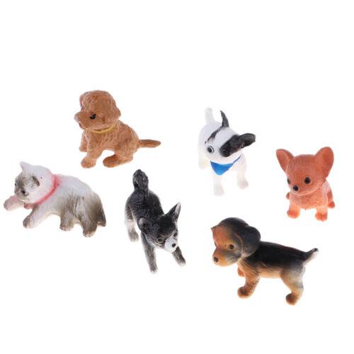 6Pcs Miniature Pet Dog Cat Puppy Figures Resin Craft-work for 1//12 Dollhouse