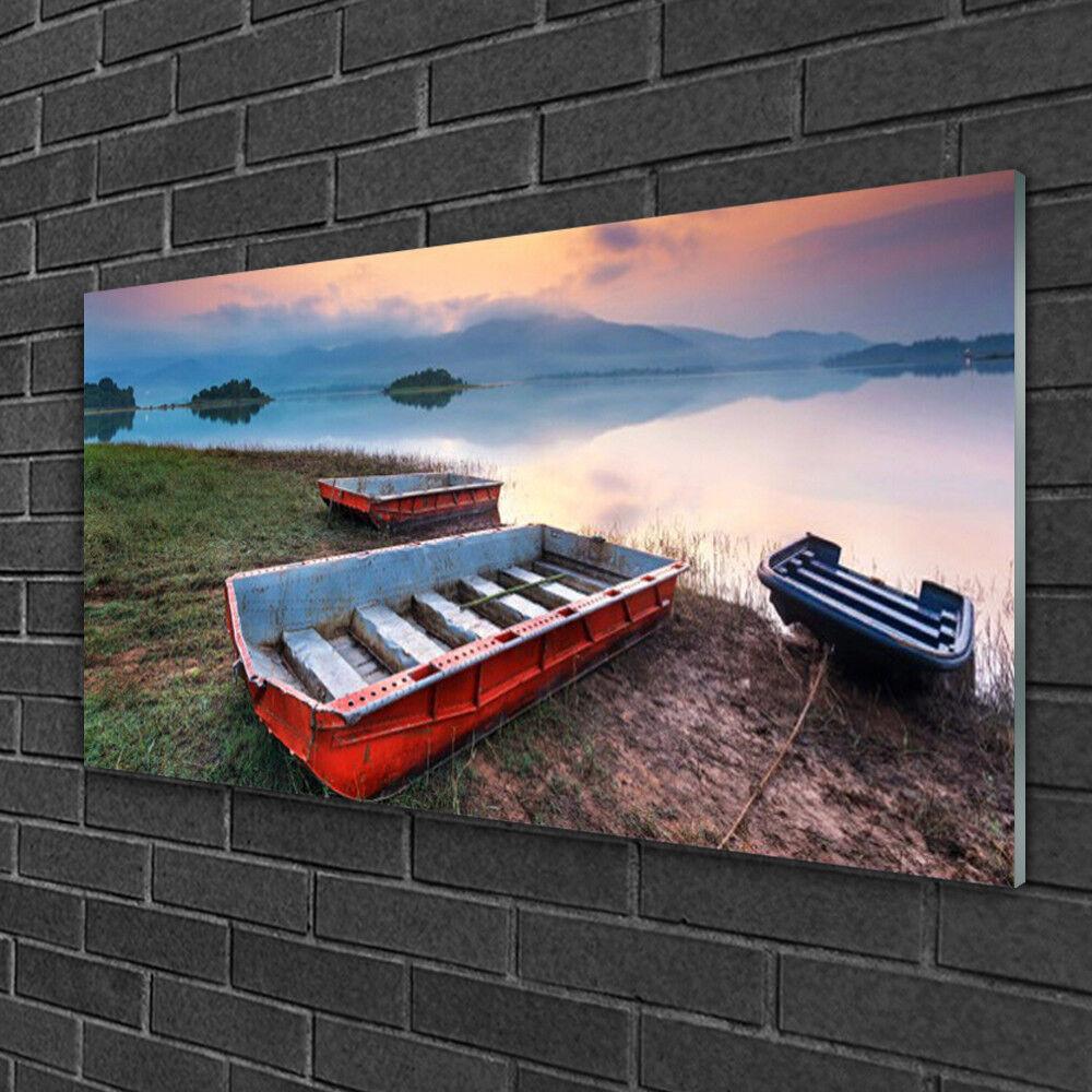Image sur verre acrylique Tableau Impression 100x50 Paysage Bateau