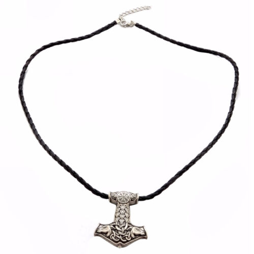 Thors Hammer Sterling Silver Pendant with 18 Diamond Cut Bead Chain