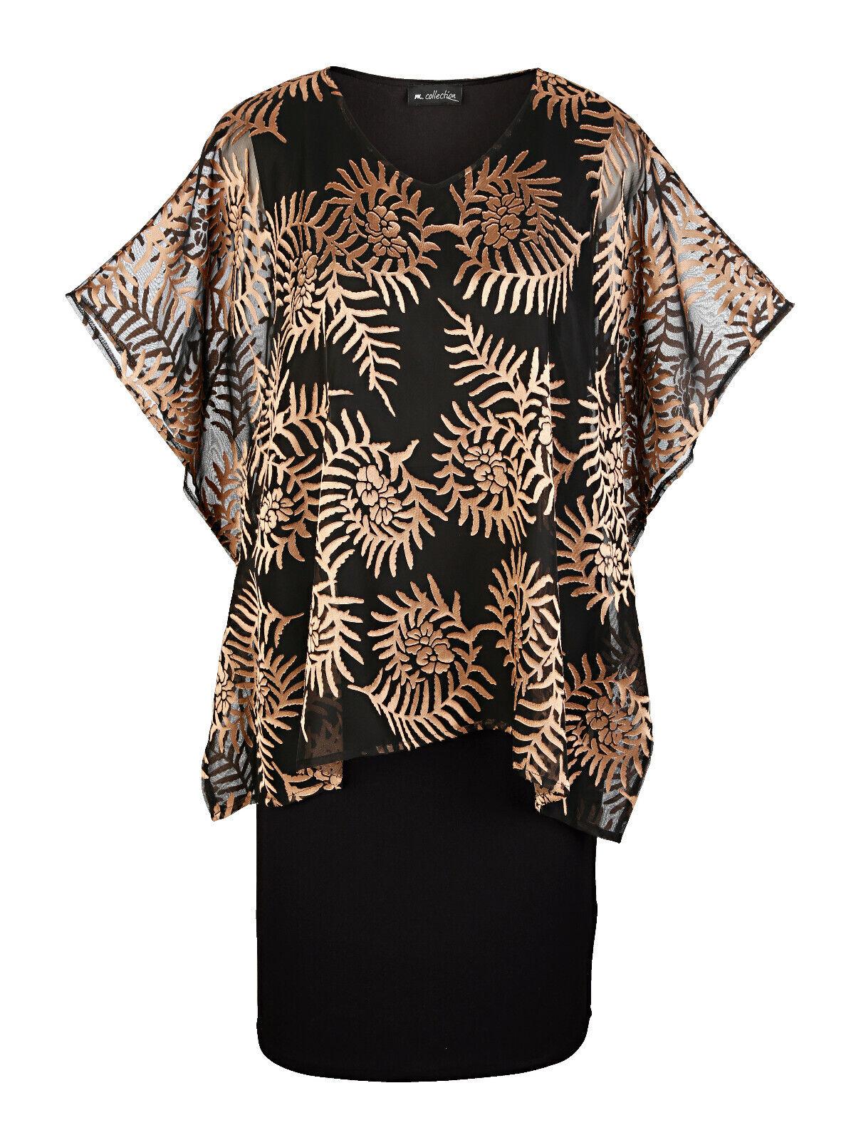 Marken Abend Kleid schwarz-gold mit Überwurf Gr. 52 0919565750
