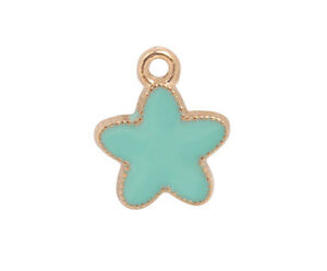 20PCS-Turquoise-Enamel-Star-Golden-Charms-92215