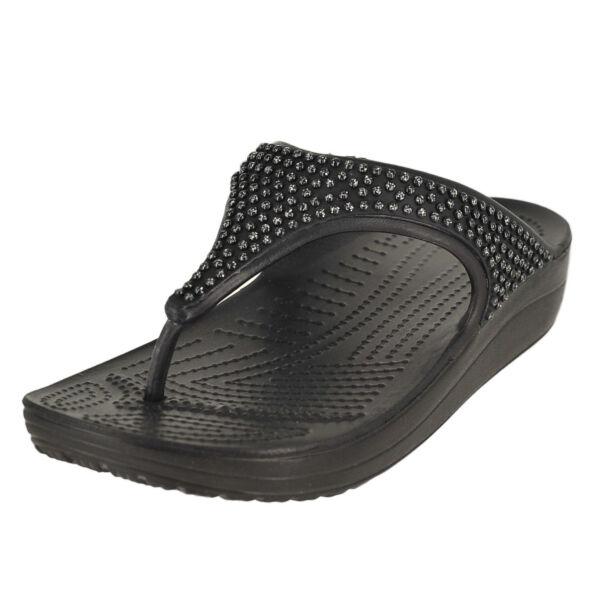 6241a85f7b49 Crocs Sloane Diamante Platform Flip Flops Womens Platinum 6 for sale online