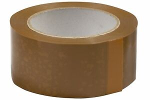 2 ROLLS OF BUFF BROWN PACKING PARCEL TAPE 48mm x 66M