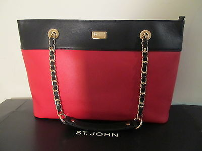 NEW ST JOHN KNIT TOTE BAG BLACK RED CRIMSON GOLD LOGO LEATHER PURSE LARGE