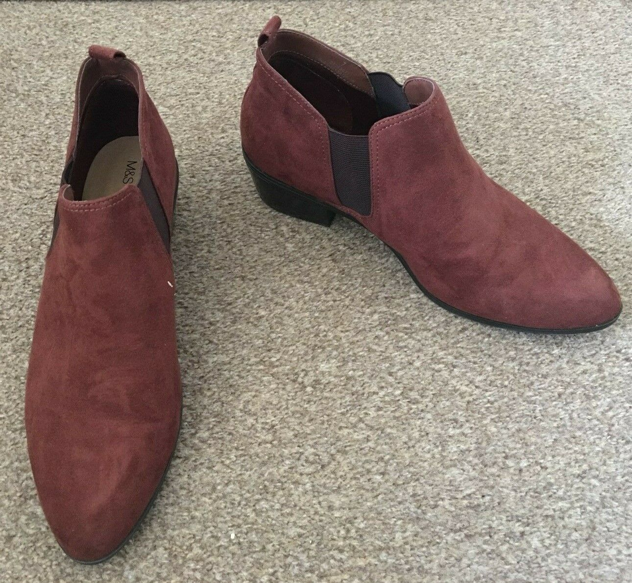 Ladies M&S Ankle Boots Brown Red Suede Slip On Winter Size 7 SB2