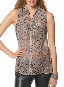 GUESS-trendy-transparente-aermellose-Bluse-Leoprint-animal-rosa-beige-NEU