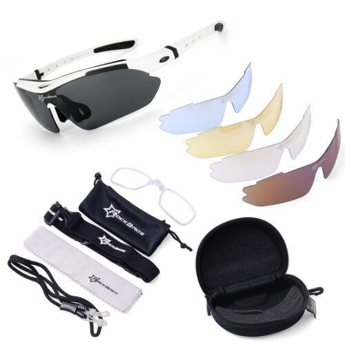 ROCKBROS Pro Polarized Cycling Glasses Bike MTB Sport Sunglasses 5 Lens Goggles*