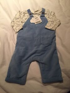 11d10565a BNWT NEXT BABY BOY Blue Cord Dungarees And Bodysuit Set   Size Up To ...