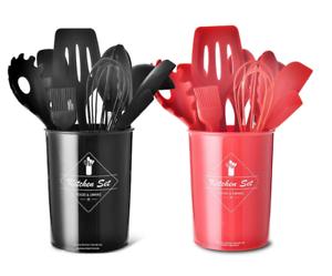 Set Utensili da Cucina in Silicone con porta utensili antiaderente high temper