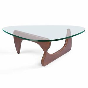 Premium Modern Noguchi Coffee Table Isamu Replica Glass Top Walnut Wood Ebay