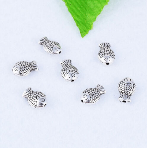 Argent Antique poisson sculpture Spacer Beads Charme Jewelry Finding 10X7mm Wholesale