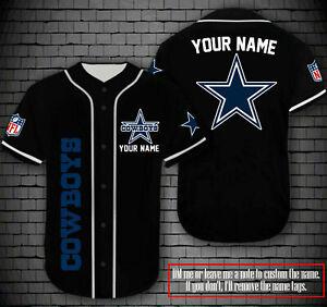 Dallas Cowboys Personalized Custom Baseball Jersey Short Sleeve Shirt XS-4XL
