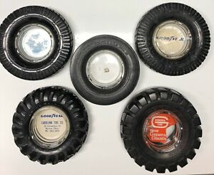 Lot-Of-5-Vintage-Rubber-Tire-Ashtrays-Goodyear-General-Truck-Ag-Large-Tire