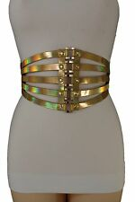 Gold Metal Women Wide Corset Elastic Fashion Belt High Waist Plus Size M L XL