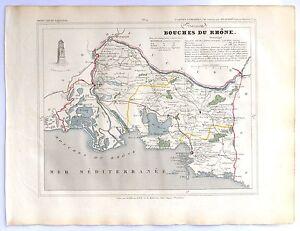 100% Vrai Carte Ancienne Les Bouches Du RhÔne Gravée Par Alès 1833 19e Antique Map