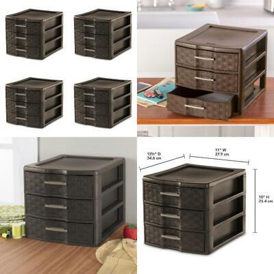 4 Pack Dresser Storage Plastic Organizer Cabinet 3 Drawer ...