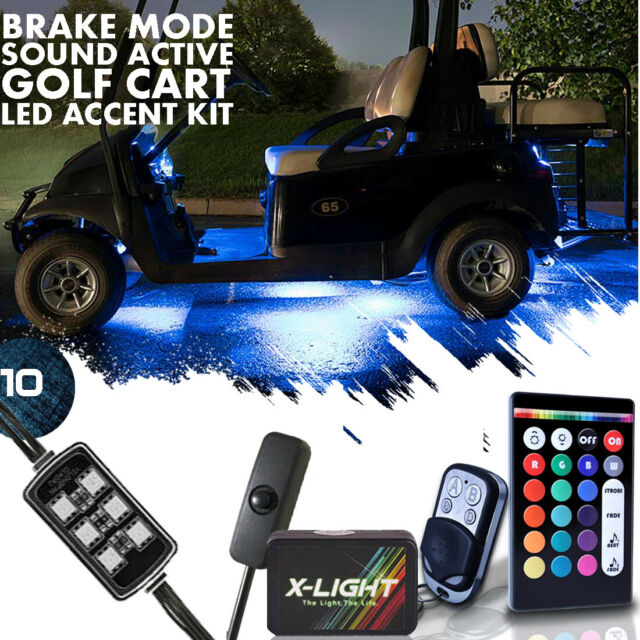 18 Color Yamaha Drive G29 Golf Cart Underglow Accent Neon Led Lights Pod X10 Kit