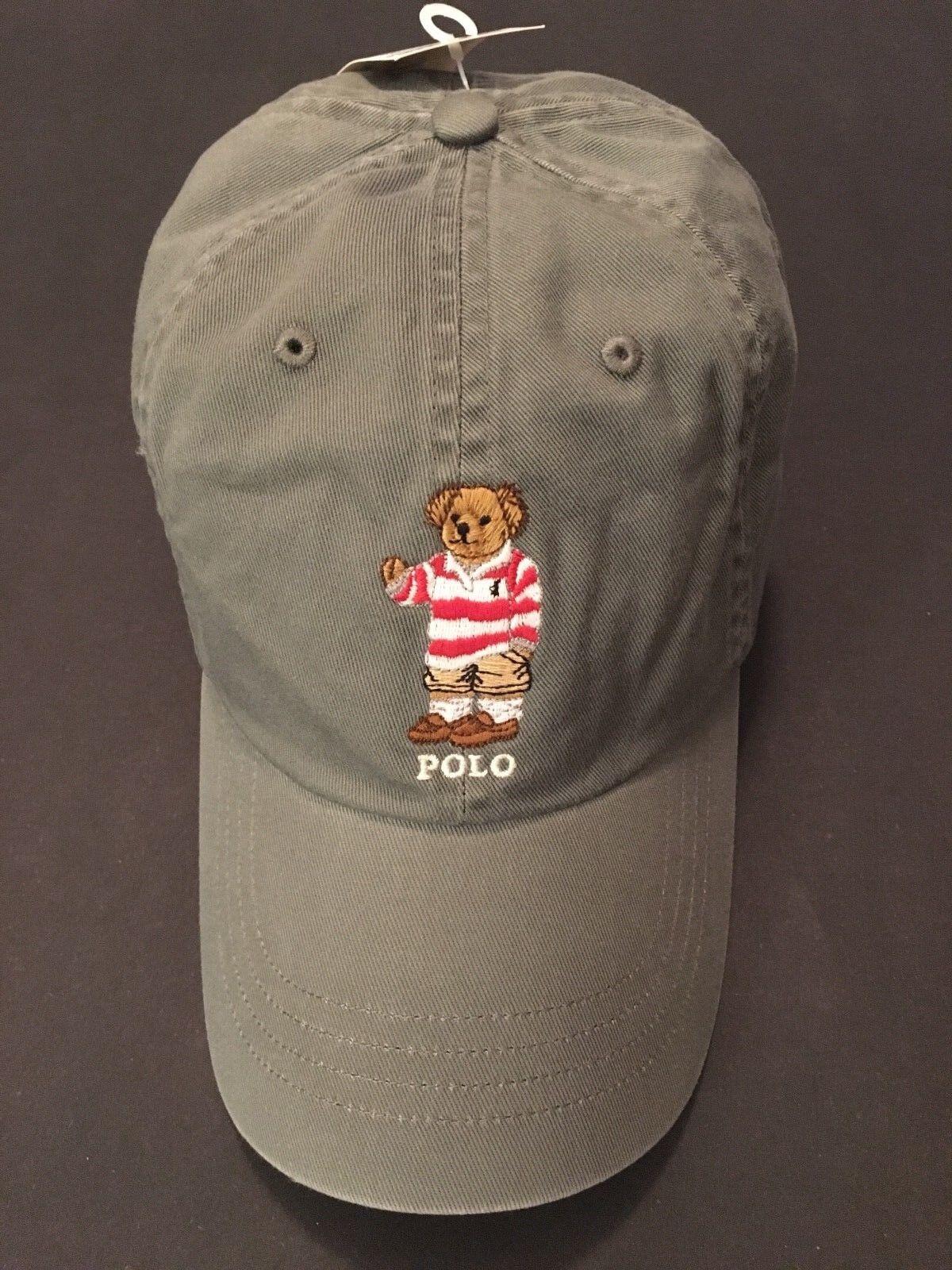 Polo Baseball Ralph Lauren Bear Hat Baseball Polo Cap NWT Gray 100% Authentic 08dc8c