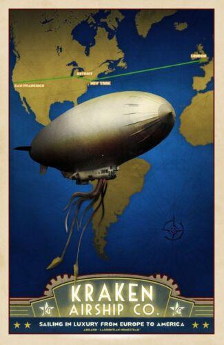 "Vintage Illustrated Travel Poster CANVAS PRINT Kraken Airship 8/""X 12/"""