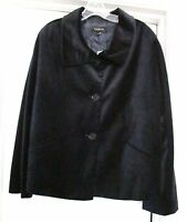 Talbots Retro Style 100% Cotton Velour Jacket Coat - Black - With Tags