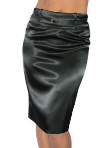 NEW-2328-Pencil-Skirt-Stretch-Satin-FREE-Belt-Black-Size-8-18