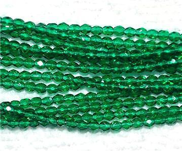 50 CZECH 3mm Fire Polished Glass Beads Emerald